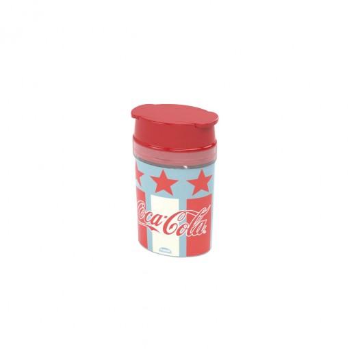 Saleiro de Plástico com Tampa Encaixável e Aberturas Superiores Coca Cola