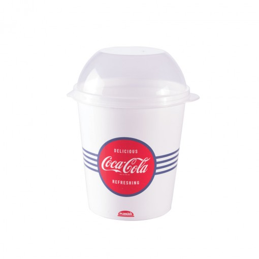 Porta de Plástico 600 ml com Tampa Fixa Coca Cola