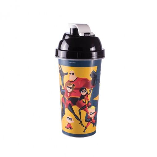 Shakeira de Plástico 580 ml com Tampa Rosca e Misturador Os Incríveis