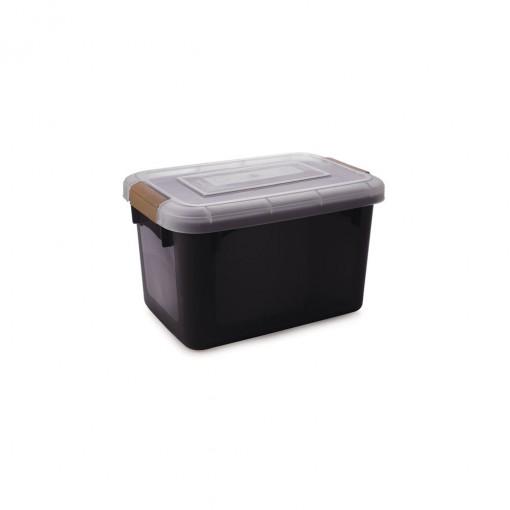 Caixa de Plástico Retangular Organizadora 15 L com Tampa e Travas Laterais PRO
