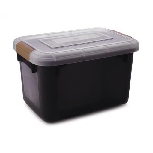 Caixa de Plástico Retangular Organizadora 26 L com Tampa e Travas Laterais PRO