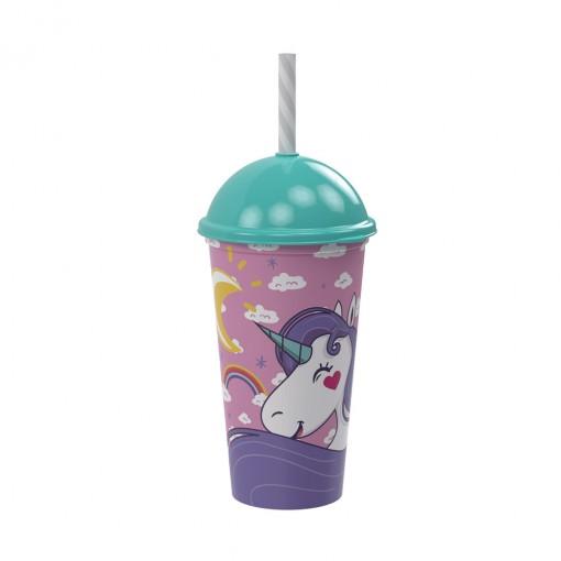 Copo Shake de Plástico 500 ml com Tampa e Canudo Unicórnio