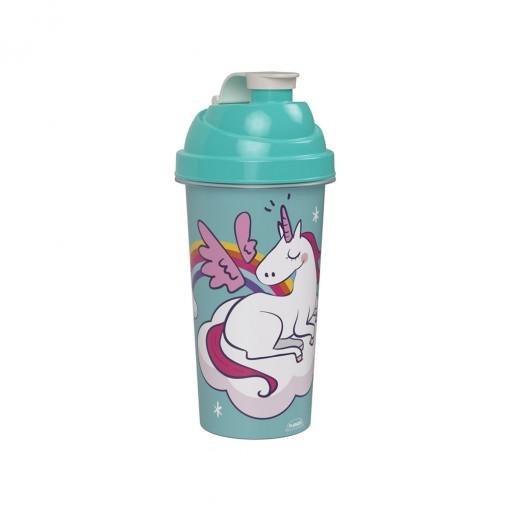 Shakeira de Plástico 580 ml com Tampa Rosca e Misturador Unicórnio