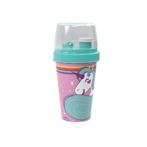 Mini Shakeira de Plástico 320 ml com Misturadoe, Fechamento Rosca e Sobretampa Articulável Unicórnio