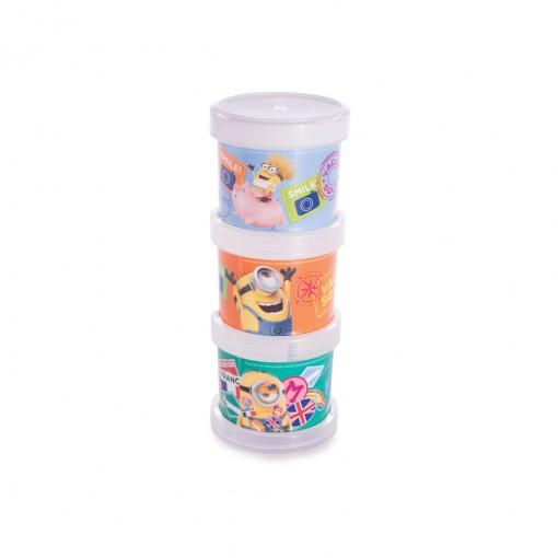 Conjunto Organizador de Plástico Empilhável com Tampa Rosca Minions 3 Unidades