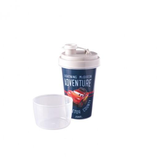 Mini Shakeira de Plástico 320 ml com Misturador, Fechamento Rosca e Sobretampa Articulável Carros