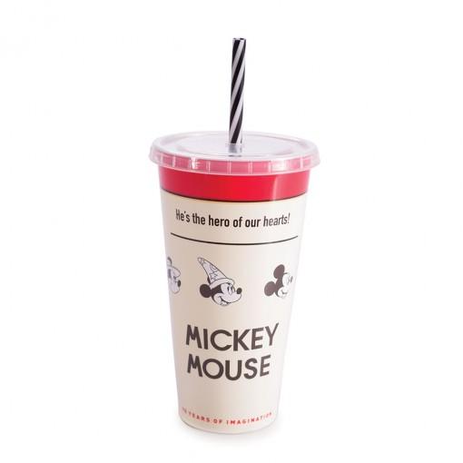 Copo Refrigerante de Plástico 700 ml com Tampa e Canudo Mickey 90 Anos