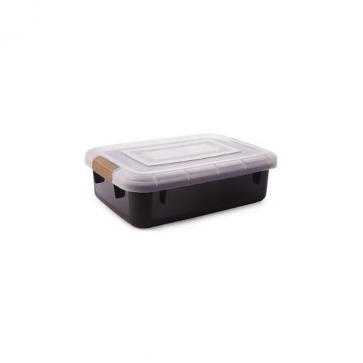 Caixa de Plástico Retangular Organizadora 11,5 L com Tampa e Travas Laterais PRO