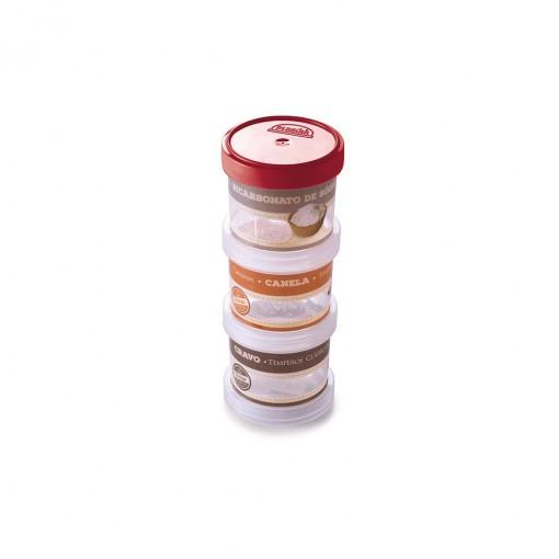 Conjunto Organizador de Plástico Empilhável com Tampa Rosca para Condimentos 3 Unidades