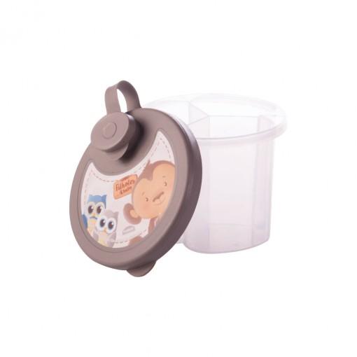 Dosador de Leite em Pó de Plástico com 3 Compartimentos Tampa Encaixável e Bico Direcionador Os Filhotes