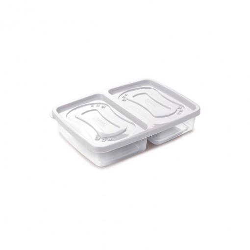 Pote de Plástico Retangular 1 L com 2 Divisórias Clic