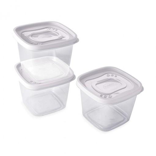 Conjunto de Potes de Plástico Quadrados 1,2 L Clic 3 Unidades