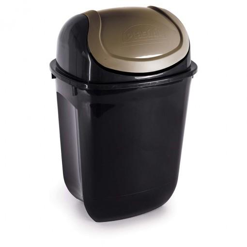 Lixeira de Plástico 19,5 L com Tampa Basculante Gira Top Ecoblack