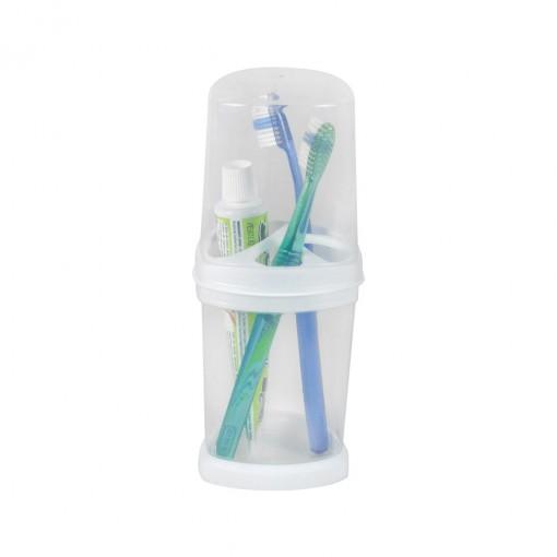Porta Escovas e Creme Dental de Plástico com Tampa