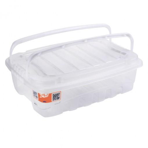 Caixa de Plástico Retangular Organizadora 9,3 L com Tampa, Travas Laterais e Alça Gran Box