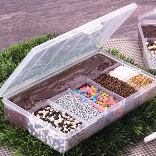 Caixa de Plástico Organizadora com 7 Divisórias Internas, Trava e Tampa Fixa