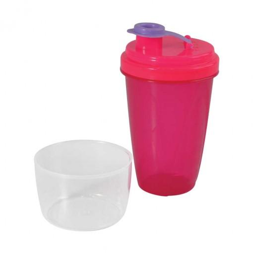 Mini Shakeira de Plástico 350 ml com Fechamento Rosca e Sobretampa Articulável