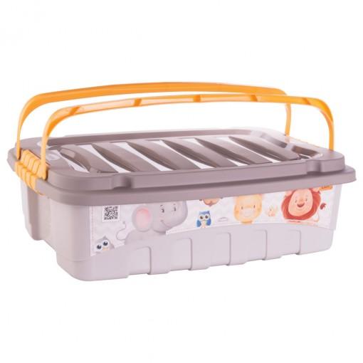 Caixa de Plástico Retangular Organizadora 9,3 L com Travas Laterais e Alça Os Filhotes