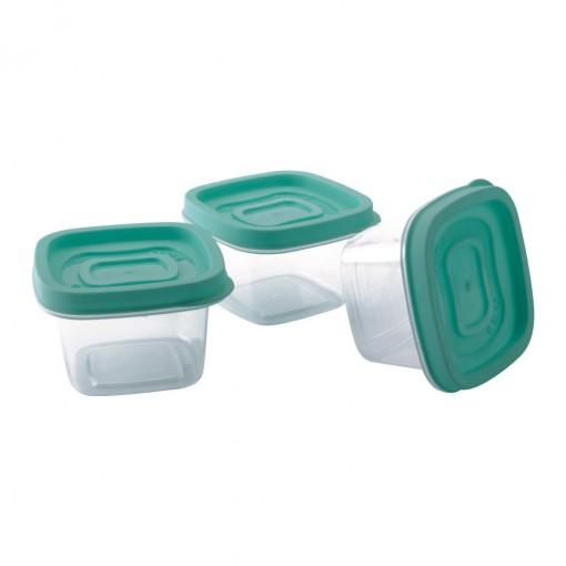 Conjunto de Potes de Plástico Quadrados 200 ml Clic 3 Unidades