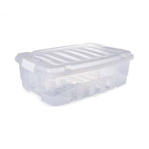 Caixa de Plástico Retangular Organizadora 9,3 L com Tampa e Travas Laterais Gran Box