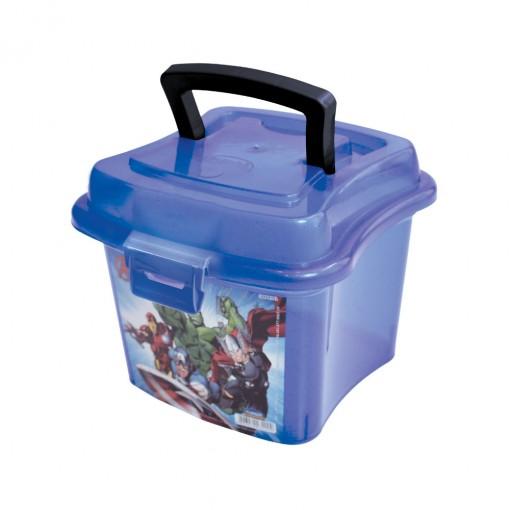 Caixa de Plástico 1 L com Tampa Fixa, Trava e Alça Avengers