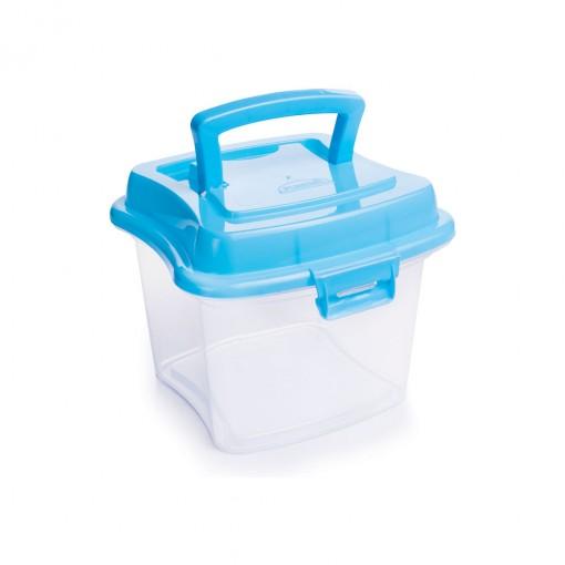 Caixa de Plástico 1 L com Tampa Fixa, Trava e Alça