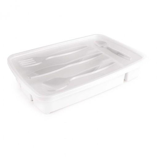 Porta Talheres de Plástico com Tampa 4 Divisórias