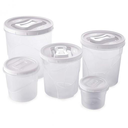 Conjunto de Potes de Plástico Redondos para Mantimentos Rosca 5 Unidades