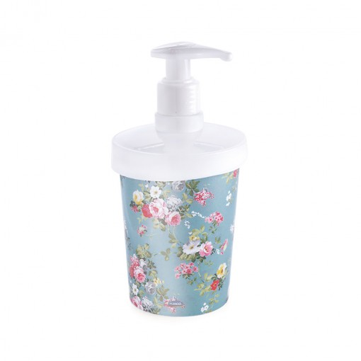 Porta Sabonete Líquido de Plástico 360 ml Floral