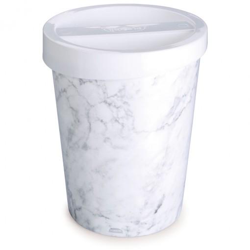 Lixeira de Plástico 5,5 L com Tampa Mármore Branco
