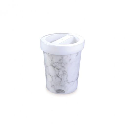 Porta Cotonete de Plástico Mármore Branco