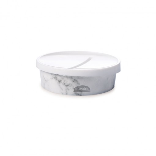 Saboneteira de Plástico Mármore Branco