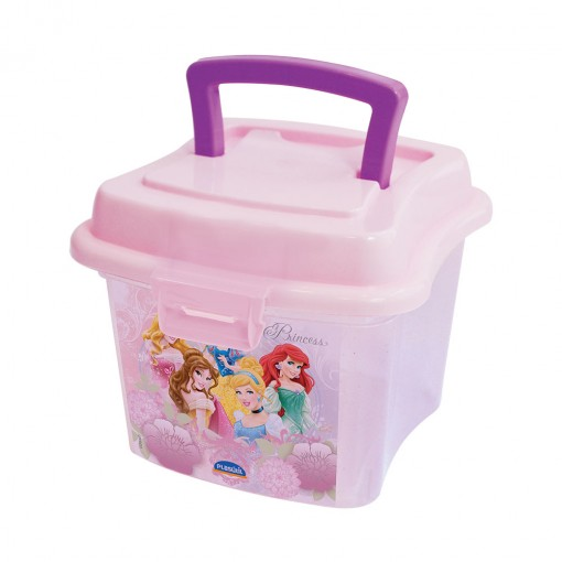 Caixa de Plástico 1 L com Tampa Fixa, Trava e Alça Princesas