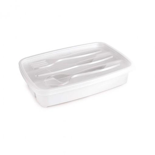 Porta Talheres de Plástico com Tampa 3 Divisórias