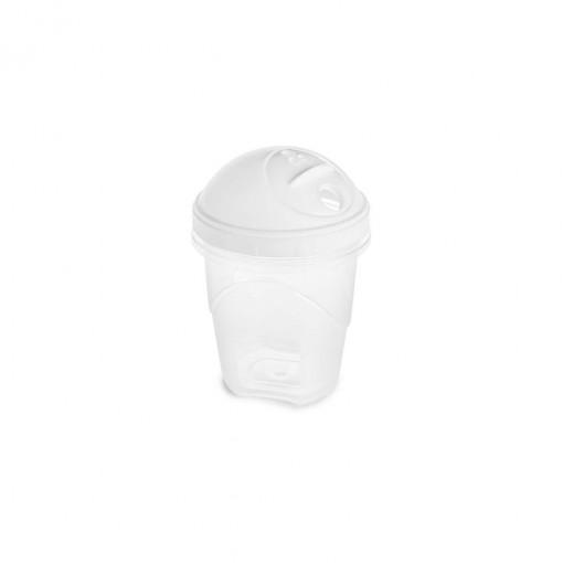 Açucareiro de Plástico com Fechamento Rosca e Sobretampa Articulável