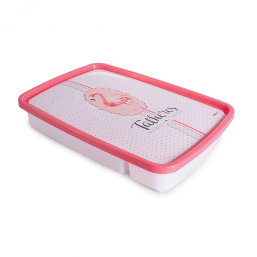 Porta Talheres de Plástico com Tampa 4 Divisórias Flamingo