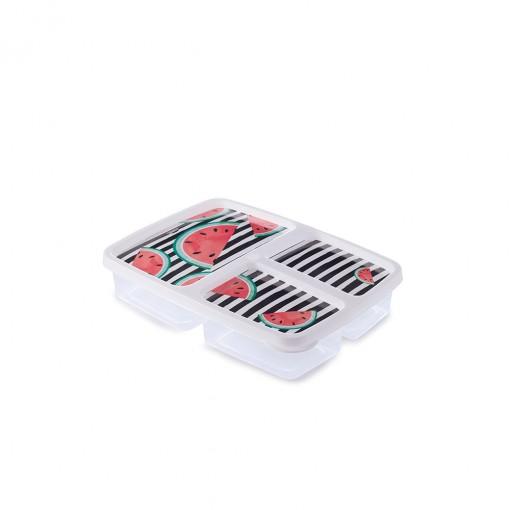 Pote de Plástico Retangular 1 L com 3 Divisórias Clic Fazenda