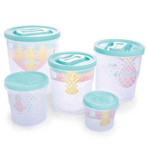 Conjunto de Potes de Plástico Redondos para Mantimentos Rosca 5 Unidades Melancia