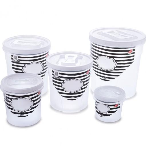Conjunto de Potes de Plástico Redondos para Mantimentos Rosca 5 Unidades Fazenda