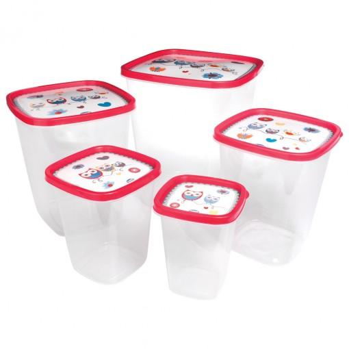 Conjunto de Potes de Plástico Quadrado para Mantimentos Clic Coruja 5 Unidades