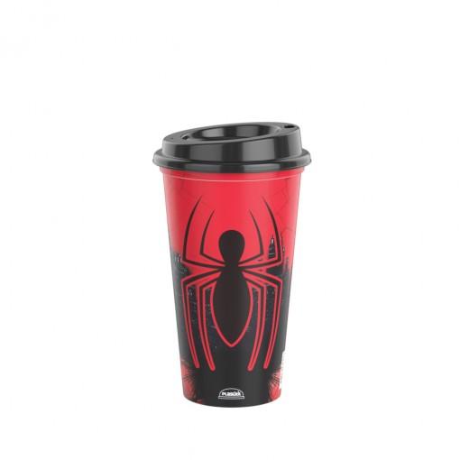 Copo de Plástico 500 ml com Tampa Café Homem Aranha