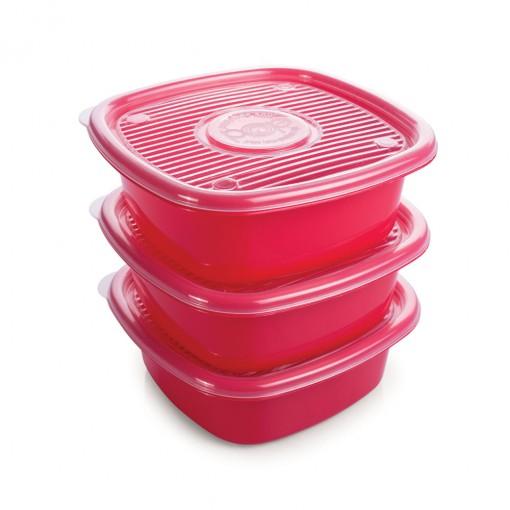 Conjunto de Potes de Plástico Quadrados 1 L Pop 3 Unidades