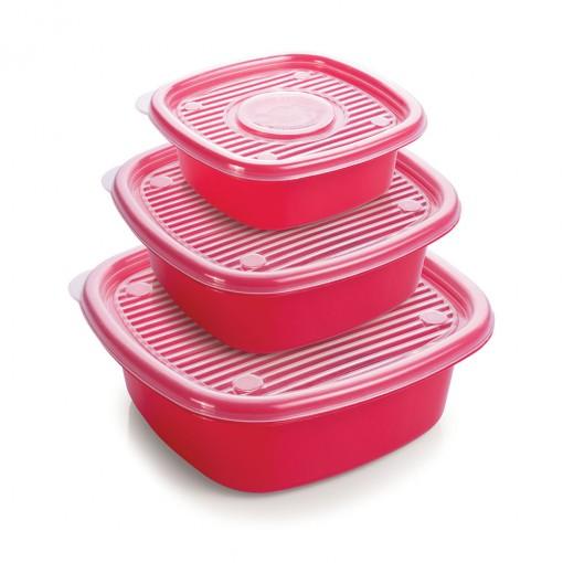 Conjunto de Potes de Plástico Quadrados Pop 3 Unidades