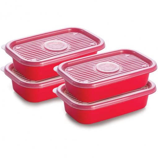 Conjunto de Potes de Plástico Retangulares 520 ml Pop 4 Unidades