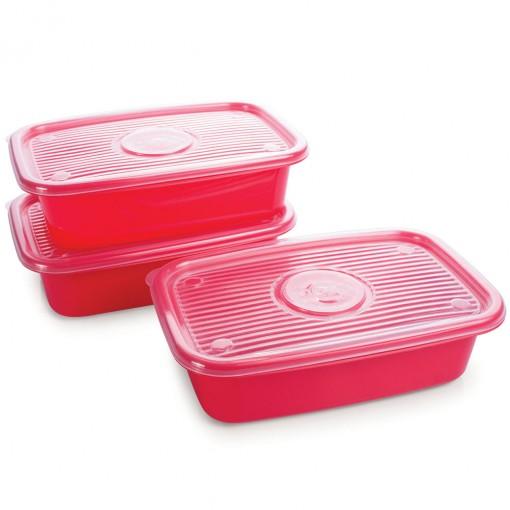 Conjunto de Potes de Plástico Retangulares 1,2 L Pop 3 Unidades