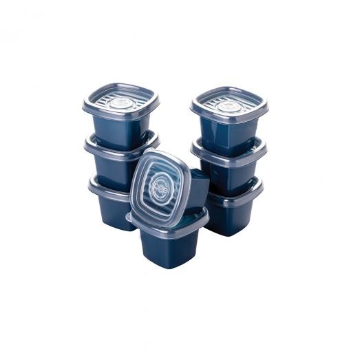 Conjunto de Potes de Plástico Quadrados 70 ml Pop 8 Unidades