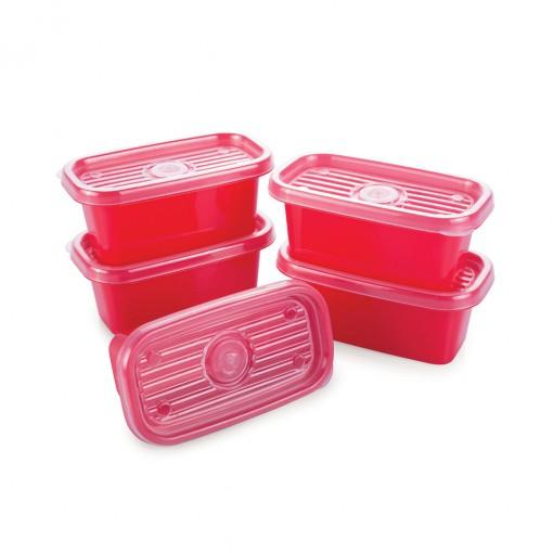 Conjunto de Potes de Plástico Retangulares 150 ml Pop 5 Unidades