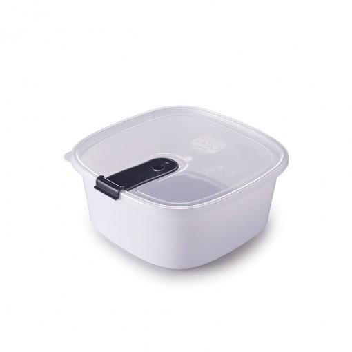Pote de Plástico Retangular 1,8 L com Tampa Fixa e Trava Trio