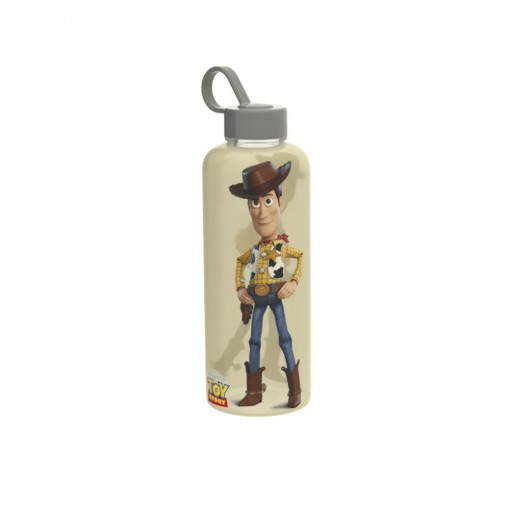 Garrafa de Plástico 480 ml com Tampa Rosca e Pegador Fixo Cilíndrica Toy Story Woody