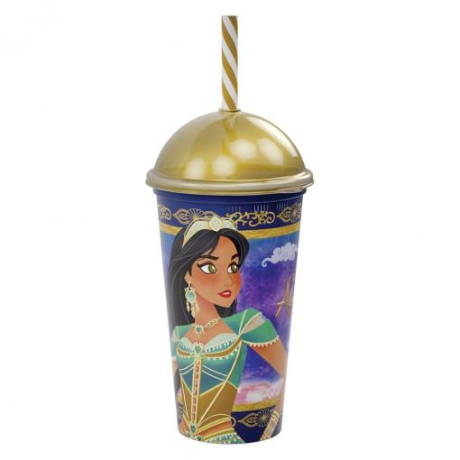 Copo Shake de Plástico 500 ml com Tampa e Canudo Aladdin